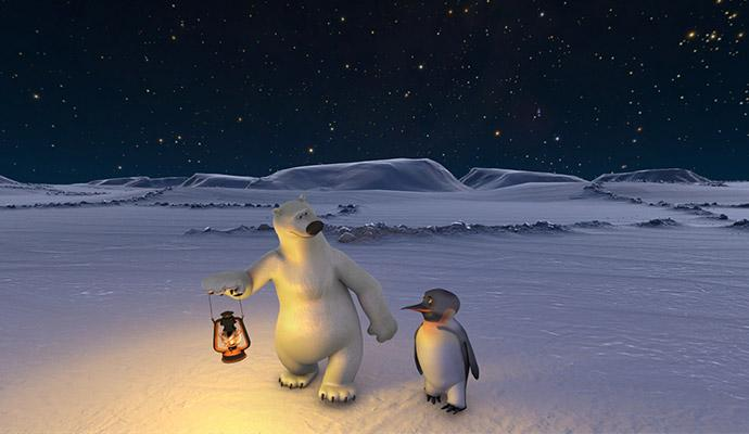 Eisbär Vladimir und Pinguin James. © Saint-Etienne Planetarium Productions