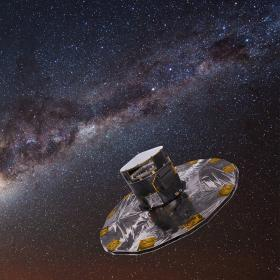 Gaia mapping the stars of the Milky Way © ESA/ATG medialab; background: ESO/S. Brunier