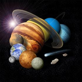 artist conception of a solar-system montage of the eight planets, a comet and an asteroid © NASA/JPL